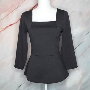 THE LIMITED Grey Peplum Square Neck Knit Blouse 8